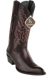 ID#DB17222 Black Cherry Western King Exotic Teju Formal Shoes For Men Lizard J Toe Style Cowboy Boots