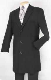 ID#BN583 Dark color black Overcoat Ankle length Fully Lined Wool fabric Blend Car Coat