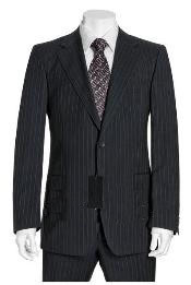 ID# OCS841 NEW Dark color black & Gray Mini Thin Pinstripe Suit Wool fabric Two buttons Jacket Flat front Pants side back vent coat style coat conservative suit