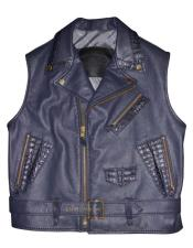 Black Lambskin/Alligator Vest with
