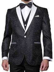 ID#NK89 Jacquard Pattern Modern Fit Fashion Suit Dark color Black Wedding / Prom