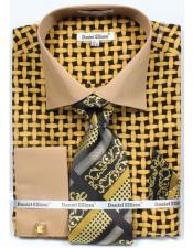 ID#DB17378 Two Tone French Cuff Black/Mustard Daniel Ellissa Bright Net Pattern Dress Big and Tall  Large Man ~ Plus Size Suits Shirt