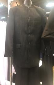 5 Button Black or Navy Mandarin ~ Nehru Collar Jacket Collarless Style Pinstripe Suit