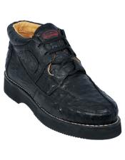 ID#VJ16364 Black Stylish Formal Shoes For Men Los Altos Full Ostrich Skin Casual Sneakers