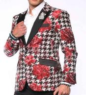 Black Cheap Fashion Big and Tall Large Man ~ Plus Size Plus Size Two Button Red Sport Coats