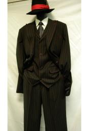 ID#DB22528 Black Wedding / Prom /Red 3 ~ Three Piece Bold ~ Chalk ~ Gangster Pinstripe ~ Stripe Zoot Suit
