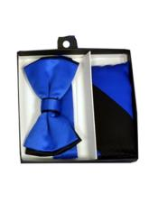 ID#DB21216 Black/Royal Blue Polyester Satin Dual Colors Classic Bow Groomsmen Ties With Hankie