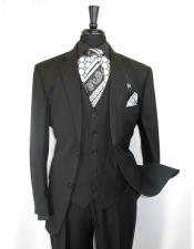 ID#VJ16251 Black Vinci Two Button Single Breasted Notch Lapel Shadow Stripe Style Suit