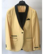ID#DB24804 Yellow 1 Button  Black Shawl Lapel Blazer
