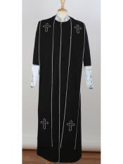 ID#DB17017 Black/Silver Big & Tall Church Cross Accent Robe With Stole Online Indian Wedding Outfits ~ Mandarin ~ Nehru Collar Jacket Collarless Style Suits