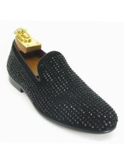 ID#KO19105 Black Fashionable Crystal Slip On Style Carrucci Shoes