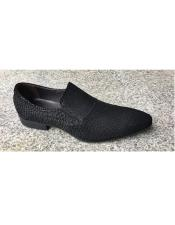 Black Leather Cushioned Insole Slip On Textured Design Shoe