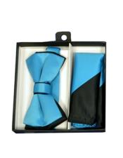 ID#DB21217 Black/Turquoise Polyester Satin Dual Colors Classic Bow Groomsmen Ties With Hankie