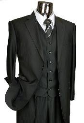 ID#TY6011 Dark color black Tone on Tone 3pc Two buttons Italian Designer Suit Dark color Black Wedding / Prom