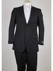 ID#SM977 Dark color black  Pinstripe Two buttons Notch Collared Slim Fit Lightweight Material Summer Polyester Suits Men