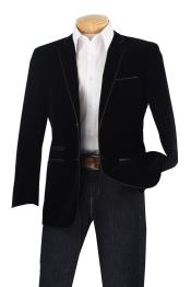 ID#P3CC Luxurious Velvet Slim Sport Coat - Faux Leather skin Trim Dark color black