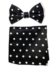 ID#DB21232 Black/White Satin Dual Colors(White Polka Dot) Bow Groomsmen Ties With Hankie
