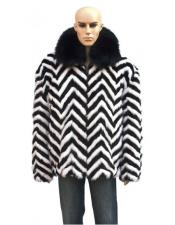 Zipper Black/White Fur Black
