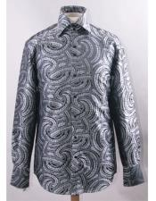 ID#DB19325 High Collar Fashion ~ Shiny ~ Silky Fabric Black White Braid Swirl Pattern Cheap Fashion Clearance Shirt Sale Online For Men