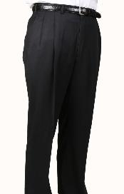 Worsted Wool fabric Dark color black, Parker, Pleated creased Pants Lined Trousers