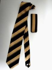 ID#KA3674 Groomsmen Ties Combo Dark color black Gold Multi Stripes