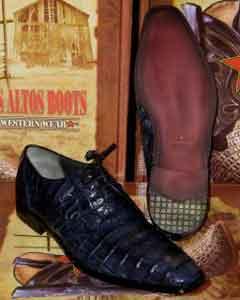 ID#JB23 Genuine Authentic Jean Blue Caiman skin ~ Gator skin crocodile skin ~ Gator skin Belly Dress Cheap Priced Exotic Skin Shoes For Sale For Men