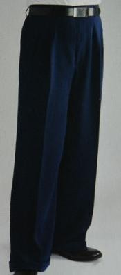 ID#FL9574 Blue Wide Leg Dress Pants Pleated creased baggy dress trousers