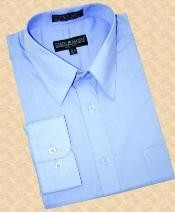 Light Blue - baby blue Cotton Blend Dress Cheap Fashion Clearance Shirt Sale Online For Men With Convertible Cuffs