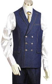 Blue Denim Wedding Vest