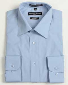 ID#TN-2837 Medium Blue Convertible Cuff Big and Tall Large Man ~ Plus Size Dress Cheap Fashion Clearance Shirt Sale Online For Men 18 19 20 21 22 Inch Neck