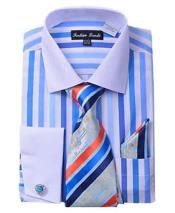 ID#SM1283 French Cuff Blue Striped Classic Fit Dress Cheap Fashion Clearance Shirt Sale Online For Men With Matching Tie And Hanky
