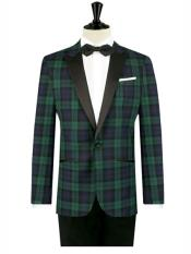 ID#DB24043 Blue/Green 1 Button Tartan Designed Slim Fit Tuxedo