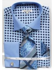Two Tone French Cuff Daniel Ellissa Blue 18 19 20 21 22 Inch Neck Big and Tall  Large Man ~ Plus Size Suits Bright Net Pattern Dress Shirt