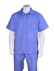 Plain Blue Linen For Beach Wedding outfit Short Sleeve Casual Walking Suit With Pleated Pant