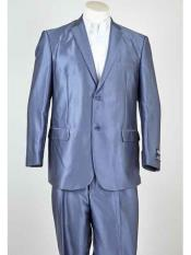 ID#SM943 Summer Blue Two buttons Man Made Fiber  Notch Collared Lightweight Material Summer Polyester Suits Men