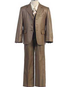 ID#SM412 Children Kids Boys Sizes Pinstripe Tan kids suits available in little boys 3 three piece suit Three buttons Notch Collared With Adjustable Tie Dress Shirt