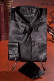 ID#HNB2961 Children Kids Boys Dark color black Satin Dress Shirt Combo