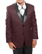 ID#DB22175 Kids ~ Children ~ Boys ~ Toddler 1 Button 3 ~ Three Piece Wedding Burgundy Prom/Black Prom ~ Wedding Groomsmen Tuxedo Vested Toddler Suits for Weddings