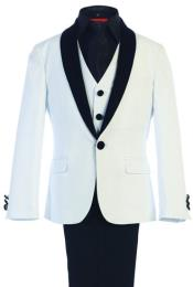 ID#RM1714 Children Kids Boys Sizes Classic Fit Suede Shawl kids suits available in little boys 3 three piece suit with Adjustable Tie and Pants White