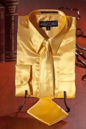 ID#DFG826 Children Kids Boys Gold Satin Dress Shirt Combo