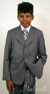 ID#UM8892 Superior fabric 150's Italian Superior fabric Wool fabric feel Man Made Fiber~rayon Gray kids suits available in little boys 3 three piece suit For Kids Toddler Suits for Weddings