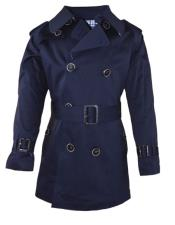 Collar Navy Coat For