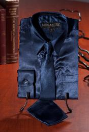 ID#JNH221 Children Kids Boys navy blue colored Satin Dress Shirt Combo