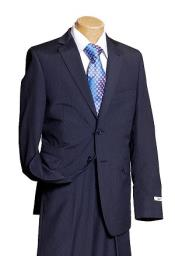 ID#KA9685 Boy's Navy Pinstripe Designer Wedding Dark Blue Toddler Suit