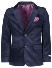 ID#DB21897 Boys ~ Children ~ Kids 2 Buttons Navy Velvet Velour Blazers Sport Coat Jacket