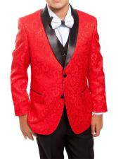 Kids ~ Children ~ Boys Red/Black Prom ~Perfect for Prom Wedding Groomsmen Tuxedo 1 Button Vest Toddler Suits for Weddings