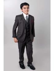 ID#SM691 Boy's Dark Slate 5 Piece Notch Collared  Suit With Tone On Tone Pinstripe Toddler Boy Suits for Weddings