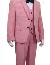 ID#DB22296 2 Button Stripe ~ Pinstripe Boys ~ Children ~ Kids Suit Red