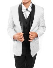 ID#DB22180 Kids ~ Children ~ Boys Prom ~ Wedding Groomsmen 3 ~ Three Piece Tuxedo Vested All White/Black Toddler Boy Suits for Weddings