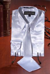 ID#GHJ7922 Children Kids Boys White Satin Dress Shirt Combo